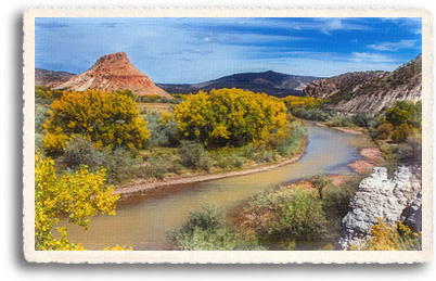 The Rio Chama winds through the red rock canyons near Abiquiu, NM